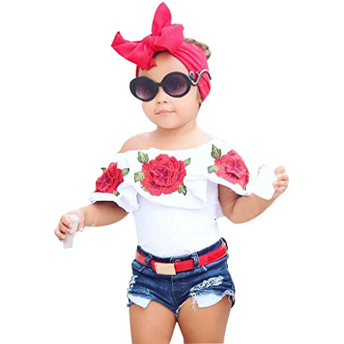 2Piece Toddler Baby Kids Girl Off Shoulder Outfits Set,Floral Print Strapless Ruffle T-Shirt Fashion Ripped Denim Shorts Suit