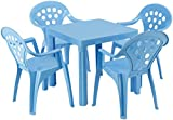 Grand Soleil Children's Outdoor and Indoor Table and Chair Set - 4 Chairs - Made in Italy to European Standards with PolyPure - (Blue)