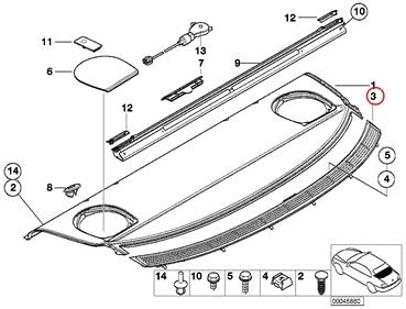 Grid Light Beige 320i 323i 325i 325xi 328i 330i 330xi BMW Genuine Rear Window Shelf Sun Blind Electr