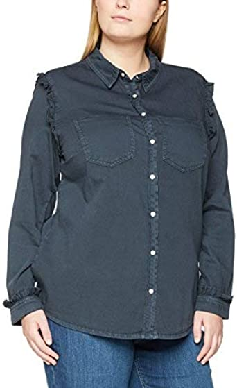 SIMPLY BE Frill Denim Shirt Camisa, Negro (Washed Blk 001), 48 para Mujer: Amazon.es: Ropa y accesorios