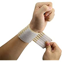 ObboMed® MB-1100 Elastic Velcro Wrist Support Wrap,Wrist Pain, Wrist Sleeve, Sports Band Protector - One Size Fits All- Beige