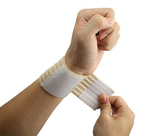 Wrist Velcro (ObboMed® MB-1100 Elastic Velcro Wrist Support Wrap,Wrist Pain, Wrist Sleeve, Sports Band Protector - One Size Fits All- Beige)