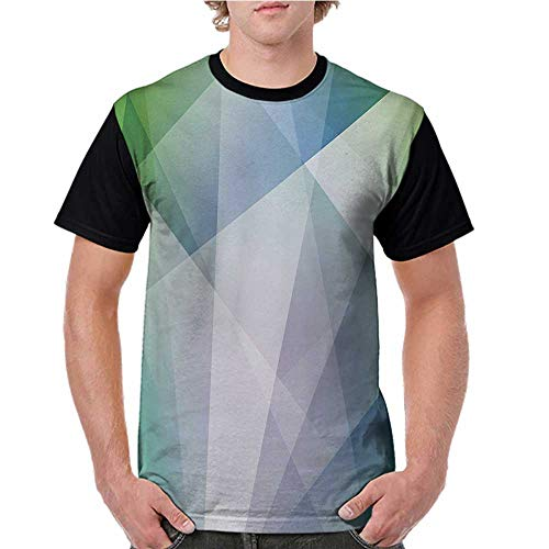 - Female Tops,Teal and White,Abstract Triangles Angled Shapes Geometrical Contemporary Futuristic Design,Multicolor S-XXL Men Personalized T-Shirt O-Neck