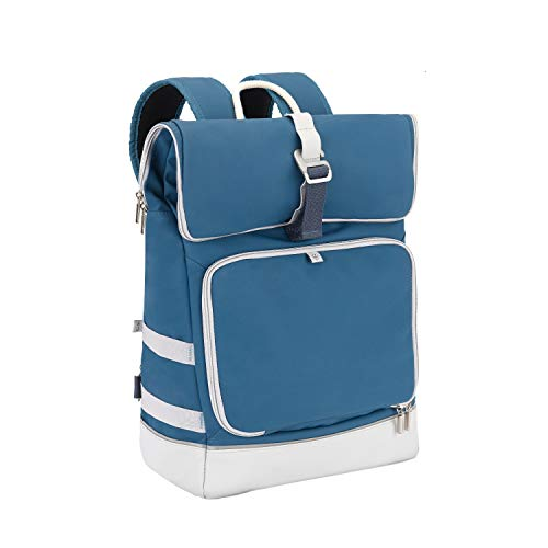 Babymoov Sancy Diaper Bag Backpack | Unisex Back Pack With Heavy Duty Roll-Top Closure, Large Insulated Compartment, Changing Pad And Accessories, Navy Blue