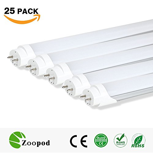zoopod T8 LED Tube Light, 6500K Cool White,3000K Warm White, Frosted Cover (25Pcs, 3000~3500K) 4ft 18W (32w Fluorescent Replacement) 25-pack 10-pack by Zoopod