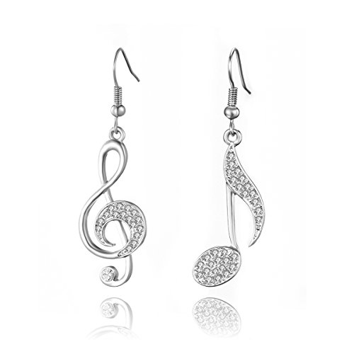 Women Dangle Earrings, Stylish Musical Note Drop Earring for Girls Shining Rhinestone Earring Anti-allergy Hook Earring with CZ Crystal (Silver Plated Different Musical -
