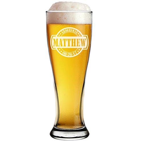 Engraved Personalized Pilsner Beer Mug Glass - Custom Groomsmen Beer Glasses Gifts - 16 oz - The General Design