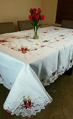 (Mikash Rectangle White 72x90 Christmas Red Poinsettia Embroidery Tablecloth 8 Napkins | Model TBLCLTH - 602)