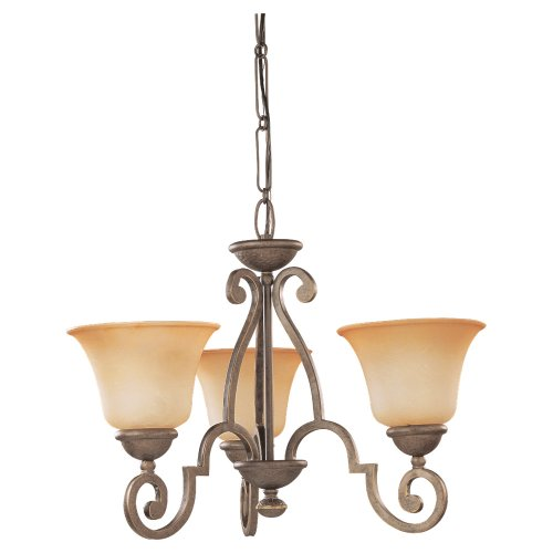 Sea Gull Lighting 39031BLE-71 Three-Light Fluorescent Brandywine Chandelier, Antique Bronze Finish with Champagne Marble Glass Shades