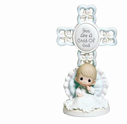 """Boy 143403 Bisque Porcelain Cross /""""Baptized in His Name/"""" Precious Moments Baptism Gifts"""