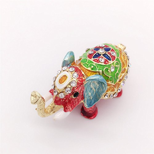Waltz&F Elephant Figurine Collection Hand-painted Hinged Trinket Box Ring Holder with Gift Box - Painted Elephant