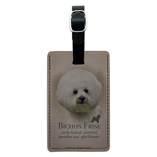 Bichon Frise Dog Breed Rectangle Leather Luggage Card Suitcase Carry-On ID Tag (Tag Frise Leather Bichon Luggage)