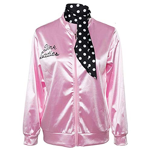 NielijuanST 50S T-Bird Danny Grease Pink Ladies Satin Jacket Polka Dot Scarf Girls Hen Night Halloween Costume Party Fancy Dress (X-Small) -