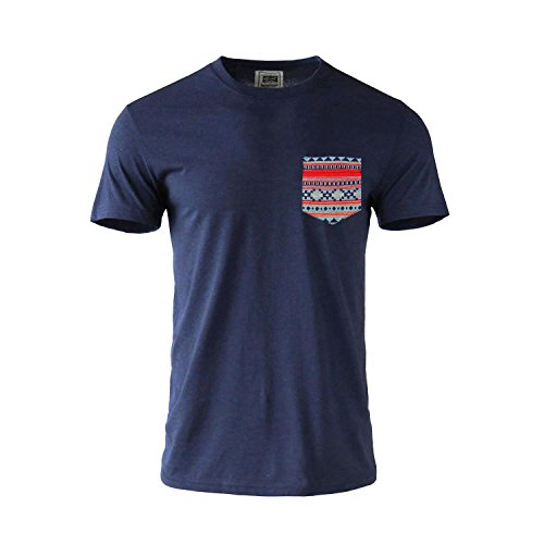 Beautiful Giant Jacquard Pocket T-Shirt Crew-Neck Short Sleeve Tee (M, NAVY-216051)