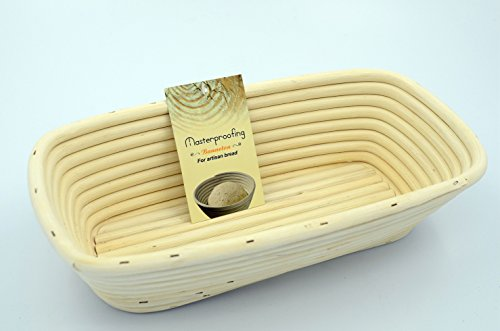 Masterproofing Rectangle Banneton Proofing Basket(1000g dough)- 12-inch by (Rectangular Proofing Basket)