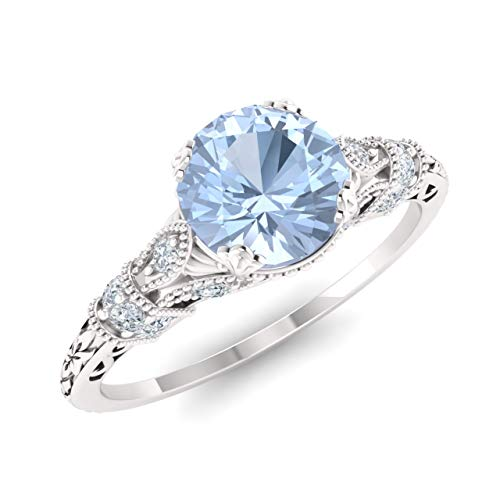 - Diamondere Natural and Certified Aquamarine and Diamond Engagement Ring in 14K White Gold | 1.11 Carat Art Deco Engagement Ring for Women, US Size 7