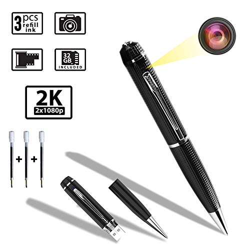 Mini Hidden Spy Pen Camera,Spy Camera with Video, 32GB Memory Included, 1080P HD Covert Cam with 3 Replaceable Ink Refills for Business or Daily Activities, USB Port and Resistant Aluminum Alloy Body