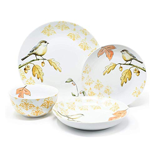 (16-Piece Member's Mark Harvest Bird Porcelain Dinnerware Set, Made Of Durable Porcelain, Features Autumn Leaves & A Damask Pattern, Dishwasher Safe & Microwave Safe)