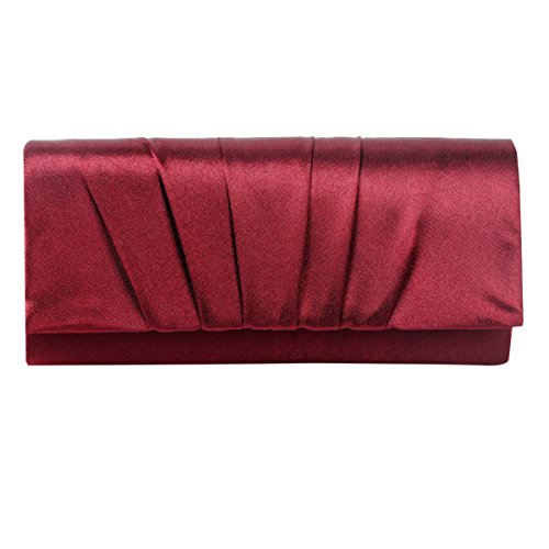 Damara Womens Satin Pleated Clutch Bag Wedding Bridal Prom Evening Handbag,Wine Red