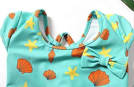 Dalary Bowknot Girls One Piece Bathing Suit Mini Dress