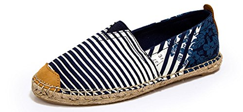 Espadrilles Baskets À Carreaux Et Plaine Femmes Baskets Slip-on Toe Chaussures Casual En Toile Chaussures Strip-blue