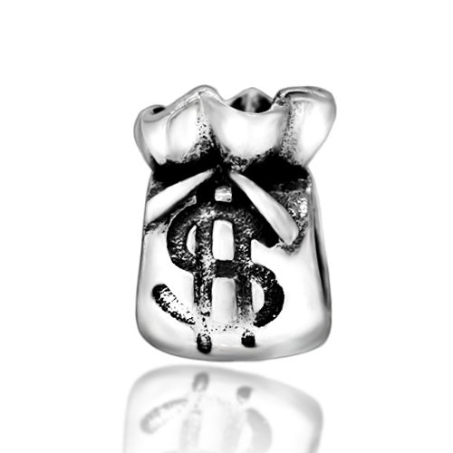 Everbling Money Bag Dollar Sign 925 Sterling Silver Bead Fits European Charm Bracelet (Dollar Silver Sign Sterling)