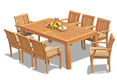 (New 9 Pc Luxurious Grade-A Teak Wood Outdoor Dining Set - 82