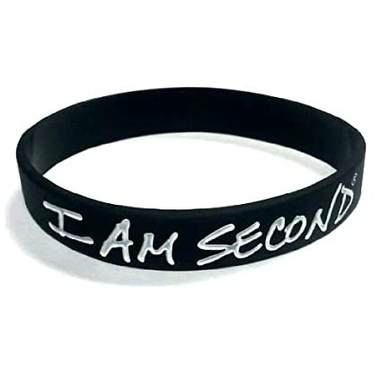 57eef921611e1 I Am Second Black and White Silicone Wristband Bracelet by Evangecube