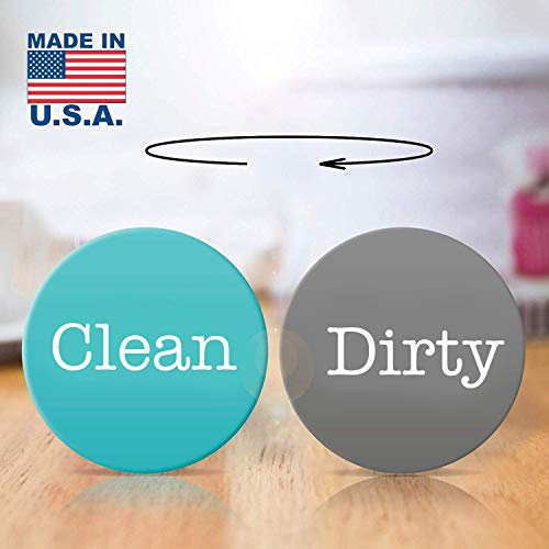 2 Double Sided Round Dishwasher Flip CLEAN & DIRTY Premium Dishwasher Magnet. MADE in USA (Aquamarine/Dark-Gray)