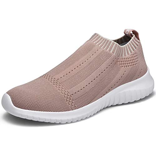 LANCROP Women's Casual Tennis Shoes - Comfortable Knit Gym Walking Slip On Sneakers 6 M US, Label 37 Apricot