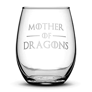 Premium Game of Thrones Wine Glass, Mother of Dragons, Hand Etched 14.2 oz Stemless Gifts, Made in USA, Sand Carved by Integrity Bottles