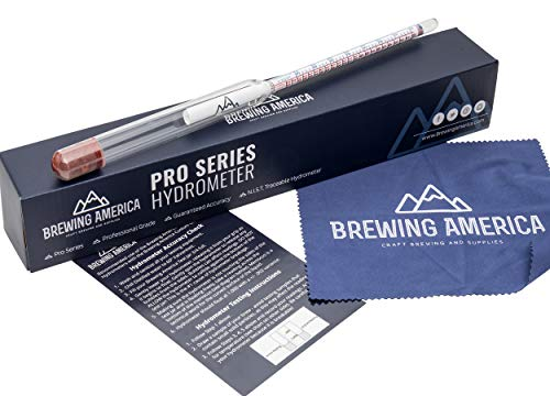 Specific Gravity Hydrometer Alcohol Tester - Pro Series American-Made Brewing ABV Testing: Beer, Wine, Cider, Mead Homebrew Fermented Beverages - Triple Scale Hydrometer by Brewing ()