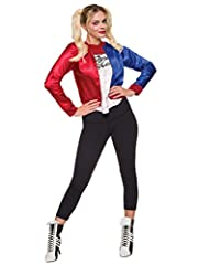 This is an officially licensed DC Comics Harley Quinn costume kit. This Suicide Squad inspired costume features a two tone color jacket with back screen printing and attached shirt. Includes Jacket & Shirt Pants not included.