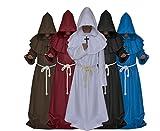 Medieval Monk Robe Cosplay Halloween Hooded Cape Costume Cloak