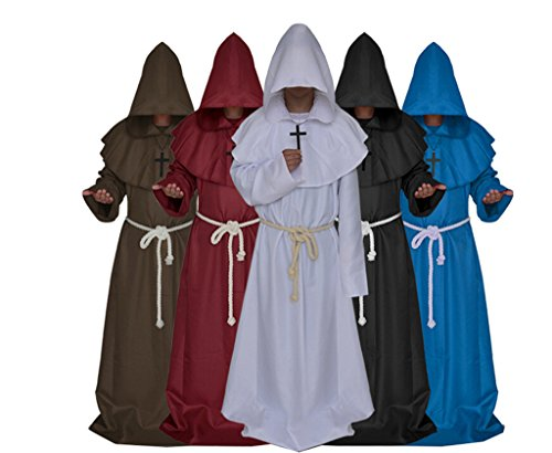 Medieval Monk Robe Cosplay Halloween Hooded Cape Costume Cloak