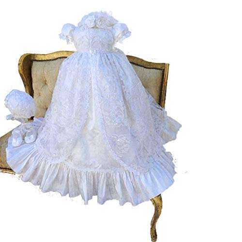 - Fenghuavip Stylish Short Sleeve Long Infant Christening Gowns for Baby Girls White