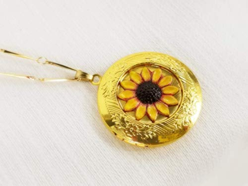 Sunflower Locket Pendant Necklace - Nature Jewelry - Hand - Necklace Red Antique Gold