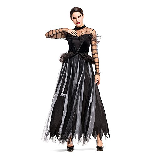 H&ZY Womens Halloween Black Swan Witch Cosplay Costume Princess Skirt Evening Long Dress -