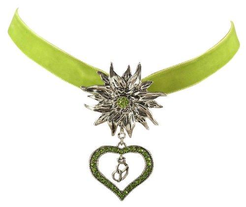 Trachtenschmuck Dirndl Edelweiss Kropfband aus Samt - grün - Kristall Herz & Brezel - Olivine