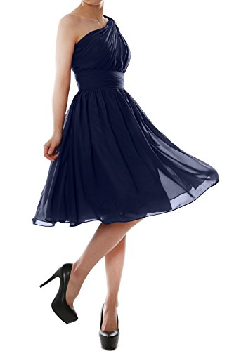 MACloth Women One Shoulder Chiffon Short Bridesmaid Dress Cocktail Party Gown Azul Marino Oscuro