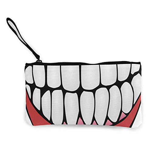 (Tooth Clip Art Women's Travel Makeup Bags Canvas Coin Purse Personalized Clutch Pouch Organizer Bag)