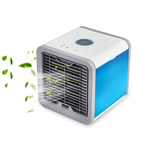 Price comparison product image Personal Space Air Conditioner Portable Mini Air Cooler Humidifier & Purifier with 7 Colors LED Lights for Room,  Office, Outdoor (White&Grey)
