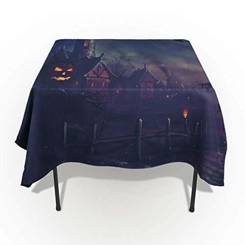 54 x 120 Inch Rectangle Tablecloth - Black Halloween Evil Pumkin Castle Rectangular Polyester Table Cloth Table Covers Linen Decor - Great for Kitchen Table, Parties, Holiday Dinner, Wedding & More ()