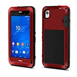 FOME Xperia Z3 Case, Military Heavy Aluminum Metal Armor Tank Gorilla Glass Shockproof Rainproof Water Resistant Weatherproof Dust/Dirt/Snow Proof Anti-smudge Resistant Acoustic Port Protection Cover Case For Sony Xperia Z3 L55(Red)