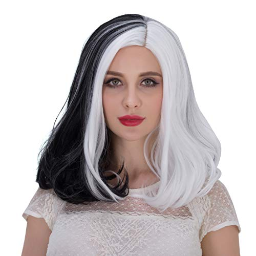 Alacos Rainbow Color 40CM Short Bob Center Part Halloween Christmas Gift Party Costumes Cosplay Wig for Women Kids +Free Wig Cap (White/Black Mid Length) ()