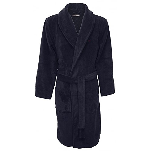 Tommy Hilfiger Plush Cotton Shawl-Style Men's Bathrobe, Navy Medium