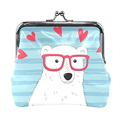 Amazon.com: Dragon Sword Cartoon Love Polar Bear Coin Purse ...