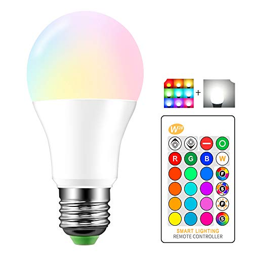 Lemonbest Dimmable 10 Watts E26 RGBW LED Light Bulb IR Remote Control 16 Colors Changing Party Stage LED Lamp Lighting (10Watt RGB+Cool White)