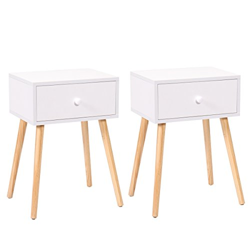 LAZYMOON Set of 2 White Mid Century Modern Side End Table Nightstand w/ Drawer 23.1″H 41DcVnZS86L