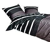Janine Mako Satin Bed Linen 2-Piece Set Duvet Cover 135 x 200 cm and Pillowcase 80 x 80 cm Nougat Stripes Black